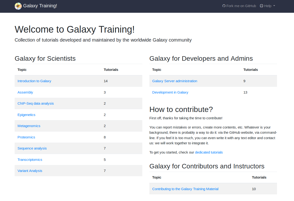 Galaxy training materials page